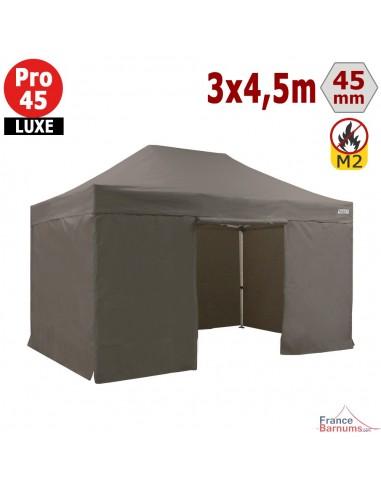 Barnum pliant - Stand pliant Alu Pro 45 LUXE M2 3mx4,5m TAUPE + Pack Côtés 380gr/m²