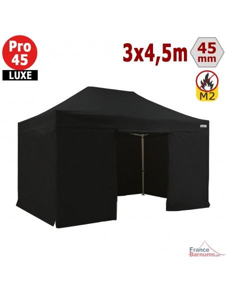 Barnum pliant - Stand pliant Alu Pro 45 LUXE M2 3mx4,5m NOIR + Pack Côtés 380gr/m²