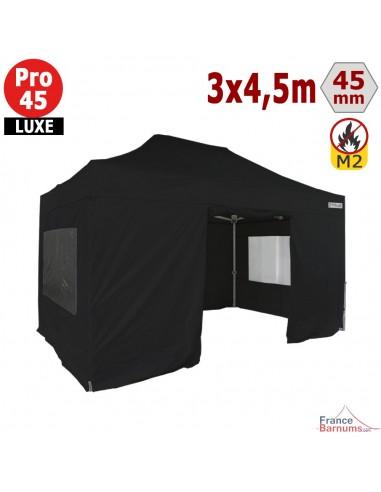 Barnum pliant - Stand pliant Alu Pro 45 LUXE M2 3mx4,5m NOIR + Pack Fenêtres 380gr/m²