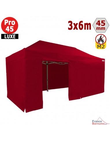 Barnum pliant - Stand pliant Alu Pro 45 LUXE M2 3mx6m ROUGE + Pack Côtés 380gr/m²