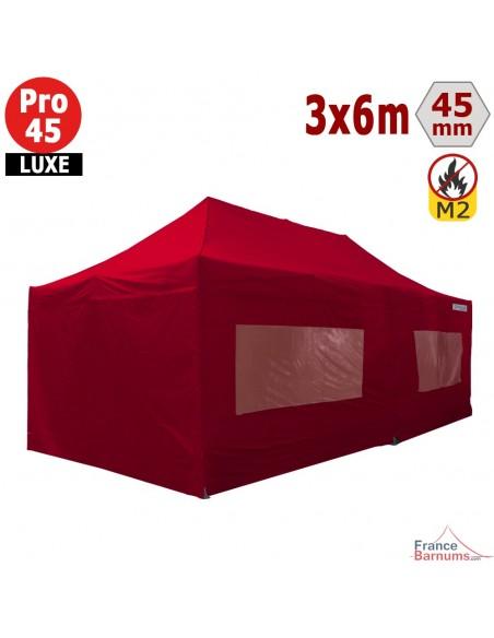 Barnum pliant - Stand pliant Alu Pro 45 LUXE M2 3mx6m ROUGE + Pack Fenêtres 380gr/m²