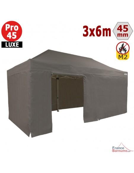Barnum pliant - Stand pliant Alu Pro 45 LUXE M2 3mx6m TAUPE + Pack Côtés 380gr/m²
