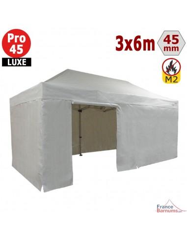 Barnum pliant - Stand pliant Alu Pro 45 LUXE M2 3mx6m BLANC + Pack Côtés 380gr/m²
