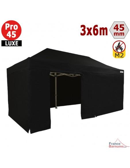 Barnum pliant - Stand pliant Alu Pro 45 LUXE M2 3mx6m NOIR + Pack Côtés 380gr/m²