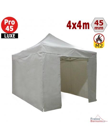 Barnum pliant - Stand pliant Alu Pro 45 LUXE M2 4mx4m BLANC + Pack Côtés 380gr/m²