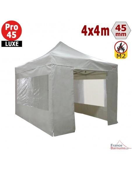 Barnum pliant - Stand pliant Alu Pro 45 LUXE M2 4mx4m BLANC + Pack Fenêtres 380gr/m²