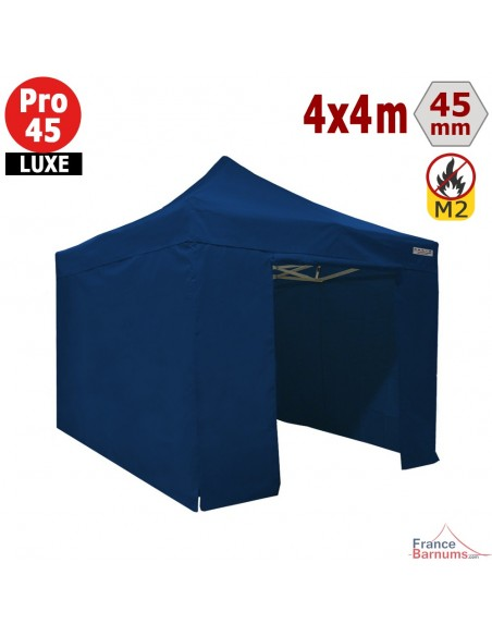 Barnum pliant - Stand pliant Alu Pro 45 LUXE M2 4mx4m BLEU + Pack Côtés 380gr/m²