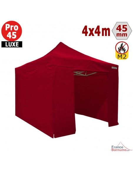 Barnum pliant - Stand pliant Alu Pro 45 LUXE M2 4mx4m ROUGE+ Pack Côtés 380gr/m²