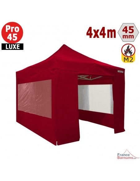 Barnum pliant - Stand pliant Alu Pro 45 LUXE M2 4mx4m ROUGE + Pack Fenêtres 380gr/m²
