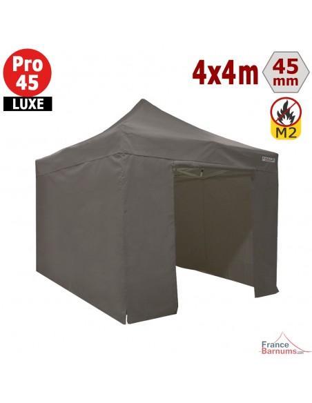 Barnum pliant - Stand pliant Alu Pro 45 LUXE M2 4mx4m TAUPE + Pack Côtés 380gr/m²