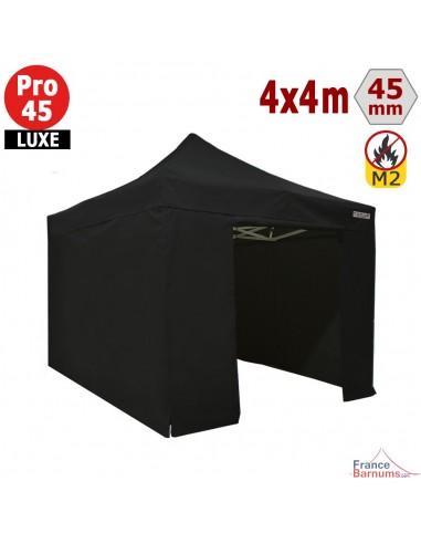 Barnum pliant - Stand pliant Alu Pro 45 LUXE M2 4mx4m NOIR + Pack Côtés 380gr/m²