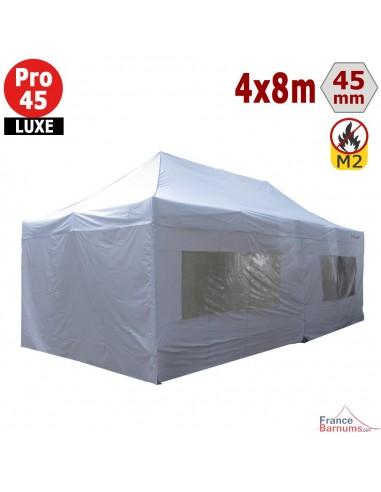 Barnum pliant - Stand pliant Alu Pro 45 LUXE M2 4mx8m BLANC + Pack Fenêtres 380gr/m²