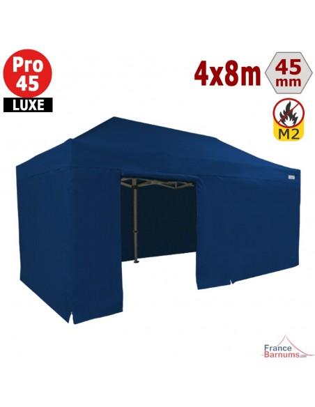 Barnum pliant - Stand pliant Alu Pro 45 LUXE M2 4mx8m BLEU + Pack Côtés 380gr/m²