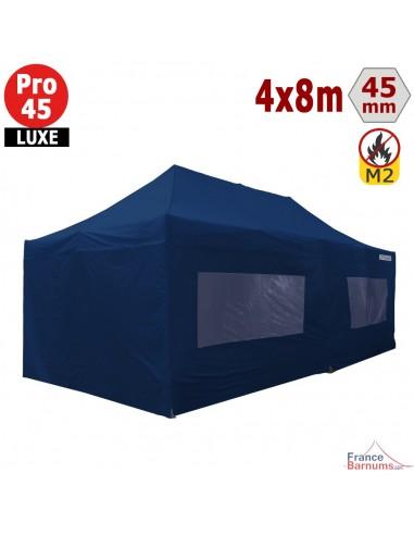 Barnum pliant - Stand pliant Alu Pro 45 LUXE M2 4mx8m BLEU + Pack Fenêtres 380gr/m²