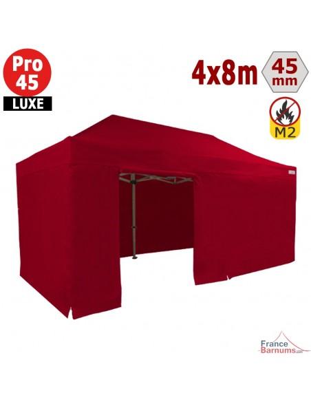 Barnum pliant - Stand pliant Alu Pro 45 LUXE M2 4mx8m ROUGE + Pack Côtés 380gr/m²