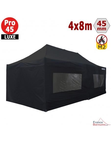 Barnum pliant - Stand pliant Alu Pro 45 LUXE M2 4mx8m NOIR + Pack Fenêtres 380gr/m²