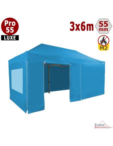 Barnum BLEU CIEL professionnel 18m2 avec bâche de toit et fenetres en PVC 580g/m2