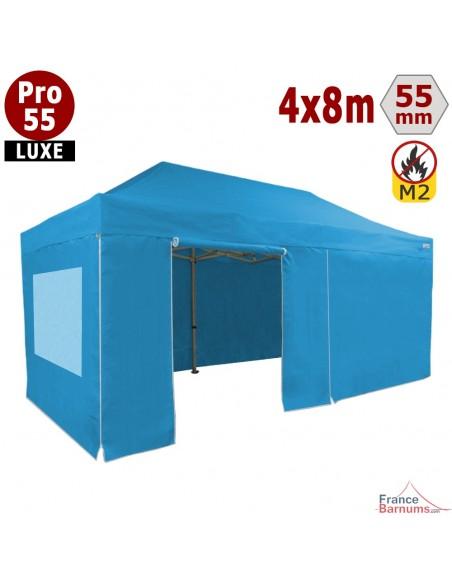 barnum pliant 4x8m avec cotés fenetres bleu ciel