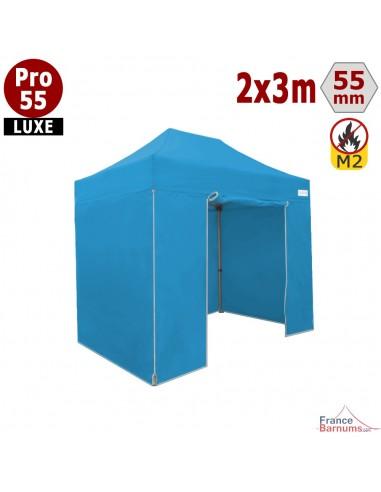 Barnum pliant professionnel 6m2 avec bâches en PVC bleu ciel