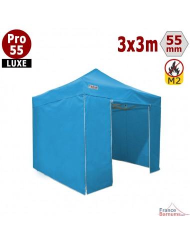 Barnum pliant Alu Pro 55 Bleu Ciel 3x3m avec murs pleins