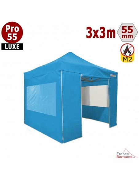Barnum pliant Alu Pro 55 Bleu Ciel 3x3m avec murs fenêtres