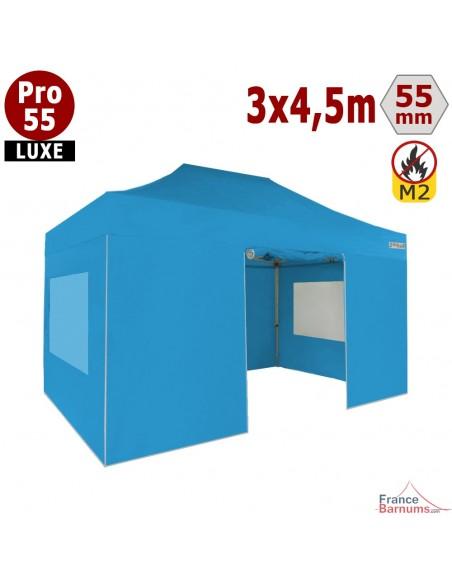 Barnum pliant 3x4,5m Alu Pro 55 bleu ciel avec murs en bâche PVC