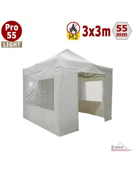 Tente pliante - Barnum pliant Alu Pro 55 LIGHT M2 3mx3m BLANC + Pack Fenêtres 500gr/m²