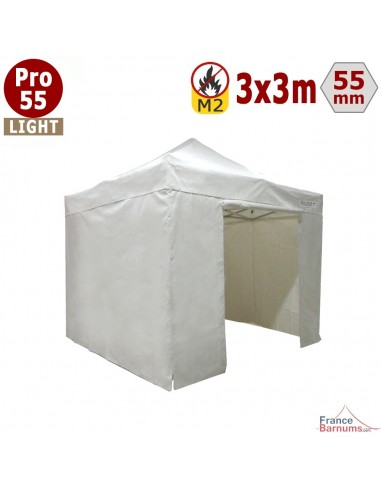 Tente pliante - Barnum pliant 3x3m Alu Pro 55 LIGHT blanc en bâche PVC 500gr/m² avec pack murs
