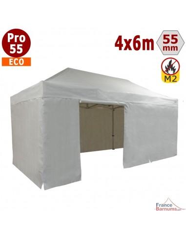 Tente pliante Alu Pro 55 ECO M2 4mx6m BLANC + Toit 580gr/m² et Côtés 380gr/m²