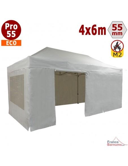 Tente pliante Alu Pro 55 ECO M2 4mx6m BLANC + Toit 580gr/m² et Fenêtres 380gr/m²