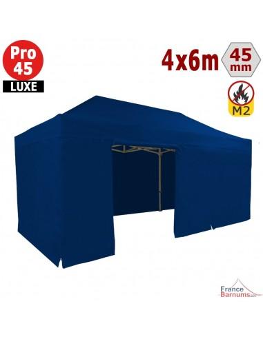 Barnum pliant - Stand pliant Alu Pro 45 LUXE M2 4mx6m BLANC + Pack Côtés 380gr/m²