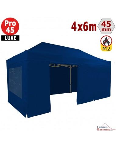Barnum pliant - Stand pliant Alu Pro 45 LUXE M2 4mx6m BLEU + Pack Fenêtres 380gr/m²