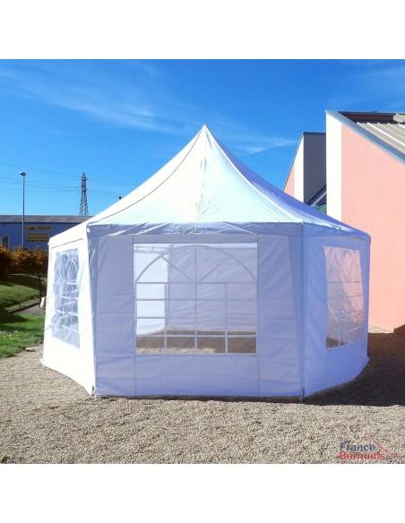 Tente de réception OCTOGONALE ECO en Polyester de 6m x 4m avec Tubes de 34mm et de 0,8mm d'épaisseur