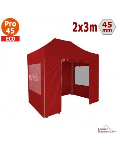 Barnum pliant - Tente pliante Alu Pro 45 ECO 2mx3m ROUGE avec Pack Fenêtres