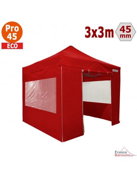 Barnum pliant - Tente pliante Alu Pro 45 ECO 3mx3m ROUGE avec Pack Fenêtres