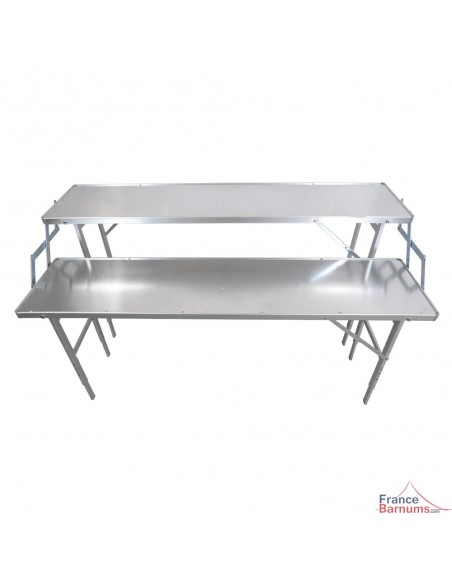 Matériel forain de présentation à 2 étagères en aluminium