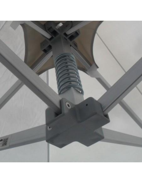 Le pied de mât sur nos barnums Alu Pro 45 Luxe est équipé d'un ressort amortisseur