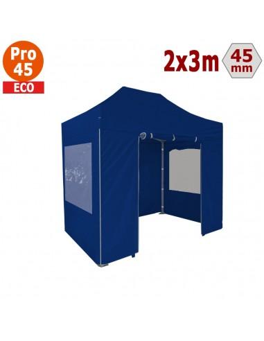 Barnum pliant - Tente pliante Alu Pro 45 ECO 2mx3m BLEU avec Pack Fenêtres