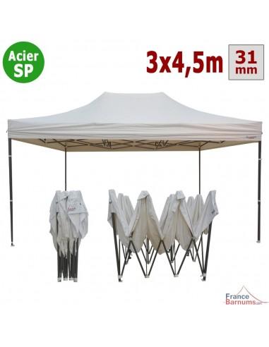 Barnum pliant - Tonnelle Acier Semi Pro 3mx4,5m BLANC