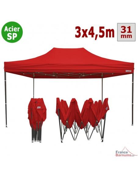 Barnum pliant - Tonnelle Acier Semi Pro 3mx4,5m ROUGE