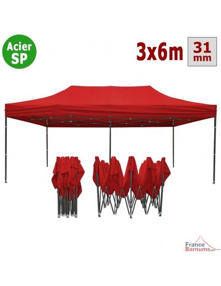 Barnum pliant - Tonnelle Acier Semi Pro 3mx6m Rouge