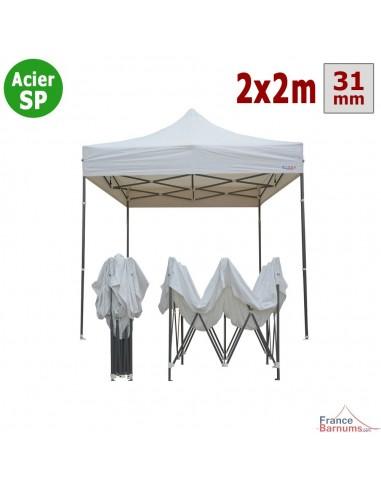 Barnum pliant - Tonnelle Acier Semi Pro 2mx2m BLANC
