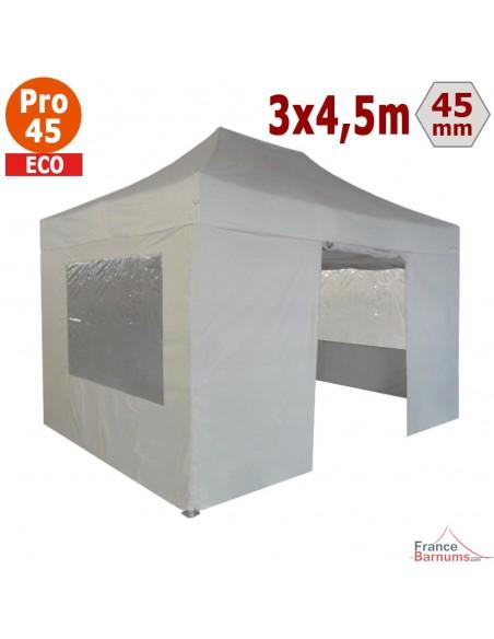 Barnum pliant - Tente pliante Alu Pro 45 ECO 3mx4,5m BLANC avec Pack Fenêtres