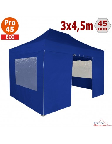 Barnum pliant - Tente pliante Alu Pro 45 ECO 3mx4,5m BLEU avec Pack Fenêtres