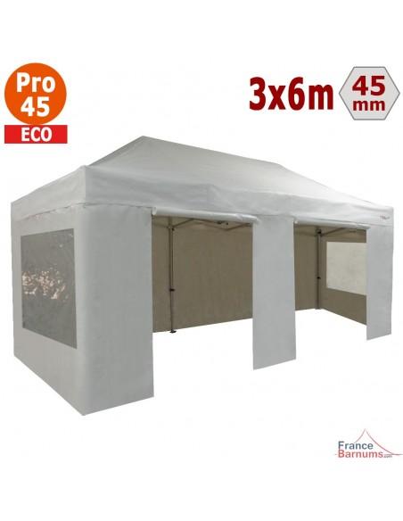 Barnum pliant - Tente pliante Alu Pro 45 ECO 3mx6m BLANC avec Pack Fenêtres