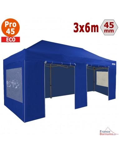 Barnum pliant - Tente pliante Alu Pro 45 ECO 3mx6m BLEU avec Pack Fenêtres