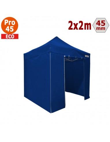 Barnum pliant - Tente pliante Alu Pro 45 ECO 2mx2m BLEU avec Pack 4 Côtés