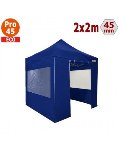 Barnum pliant - Tente pliante Alu Pro 45 ECO 2mx2m BLEU avec Pack Fenêtres
