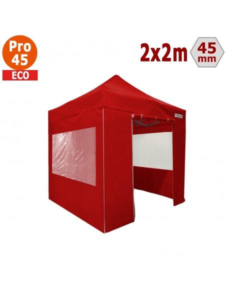 Barnum pliant - Tente pliante Alu Pro 45 ECO 2mx2m ROUGE avec Pack Fenêtres