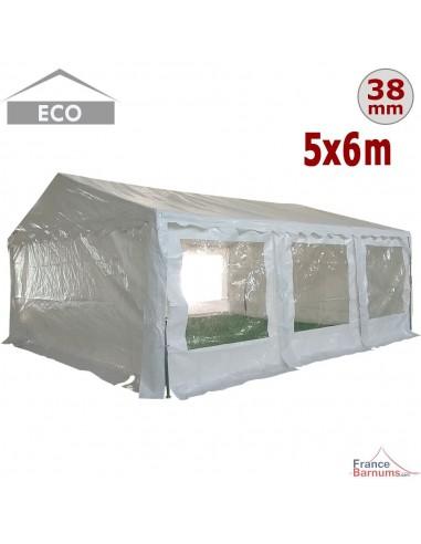 Tente de réception ECO en PE de 30m² avec structure tubulaire de 38mm